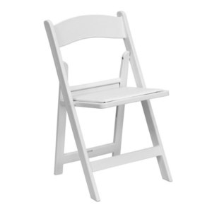 White Padded Folding Chair rental Austin, TX