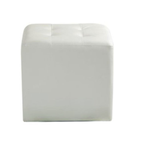 White Leather Ottoman rental Austin, TX