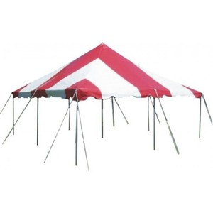 20' x 20' Red & White Pole Tent rental Austin, TX