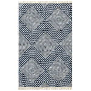 5x8 True Blue Diamond Rug rental Austin, TX