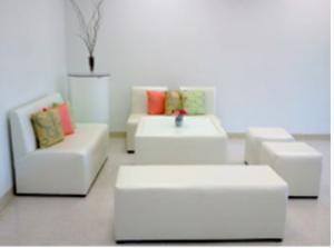 White Modern Lounge Set rental Austin, TX