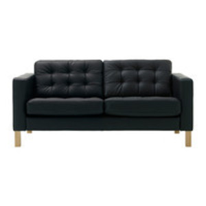 Black Tufted-Leather Loveseat rental Austin, TX