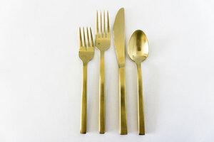 Arezzo Brushed Gold Flatware rental Austin, TX