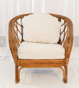 Rattan, White Cushioned Chair rental Austin, TX