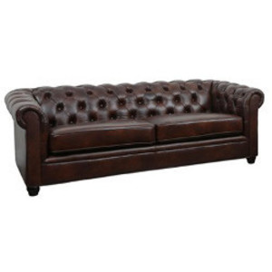 Traditional Brown Leather Sofa rental Austin, TX