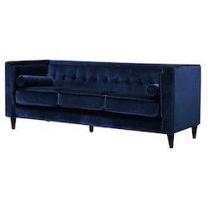 Navy Velvet Sofa rental Austin, TX