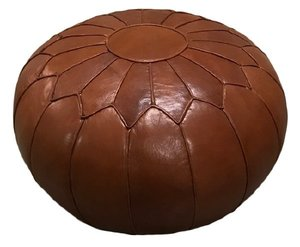 Round Leather Pouf rental Austin, TX