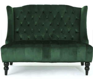 Green Tufted Loveseat rental Austin, TX