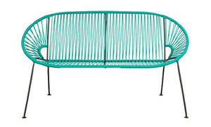 Teal PVC Cord Loveseat rental San Antonio, TX