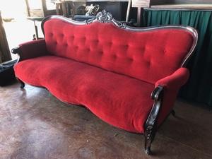 Red Velvet Couch rental San Antonio, TX