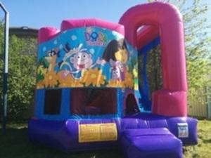 Pink Bounce House Combo with Dora Panel rental San Antonio, TX