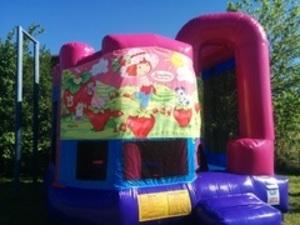 Pink Bounce House with Strawberry Shortcake Panel rental San Antonio, TX