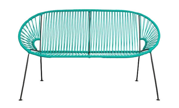 Teal PVC Cord Loveseat rental Houston, TX