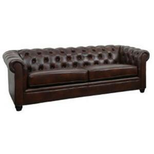 Traditional Brown Leather Sofa rental Houston, TX