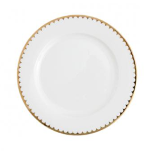 White with Gold Rim Dinner Plate rental Houston, TX
