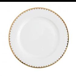 White with Gold Rim Dinner Plate rental Houston, TX