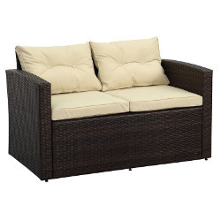 Brown Wicker Loveseat rental Houston, TX