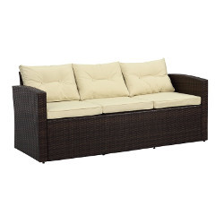 Brown Wicker Sofa rental Houston, TX