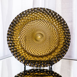Black with Gold Glass Charger Plate rental Dallas-Ft. Worth, TX