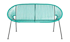 Teal PVC Cord Loveseat rental Los Angeles, CA