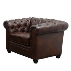 Traditional Brown Leather Armchair rental Los Angeles, CA