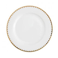 White with Gold Rim Dinner Plate rental Los Angeles, CA