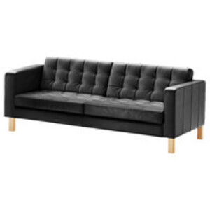 Black Tufted-Leather Sofa rental Los Angeles, CA