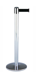 Chrome Retractable Stanchion with Black Cord rental Los Angeles, CA